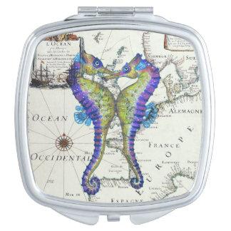 Miroir De Voyage Carte d'amour d'hippocampes