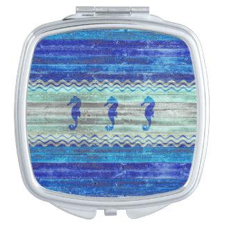 Miroir De Voyage Hippocampes côtiers rustiques de bleu marine
