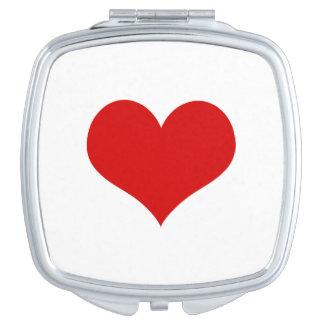 Miroir rouge de contrat de carré de coeur