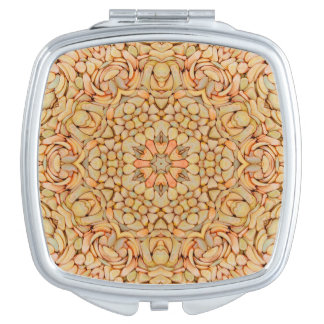 Miroirs compacts vintages de motif de cailloux
