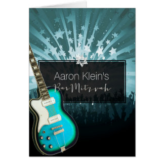 Mitzvah turquoise de guitare/photo/barre de carte