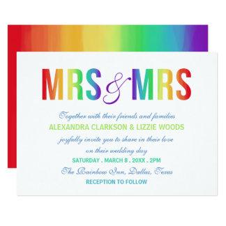 Mme et Mme mariage lesbien d'arc-en-ciel de | Carton D'invitation 12,7 Cm X 17,78 Cm