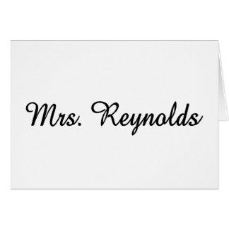 Mme Reynolds Carte