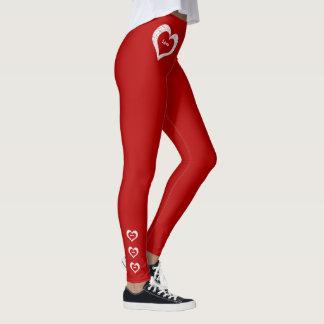 Mode rouge-foncé de Saint-Valentin de coeurs Leggings
