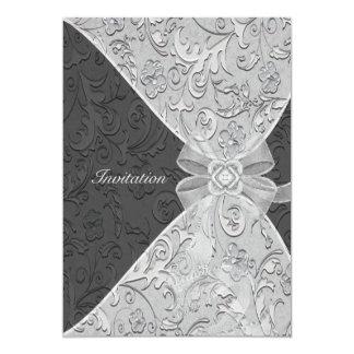Modèle d'anniversaire de damassé et d'invitation carton d'invitation  12,7 cm x 17,78 cm