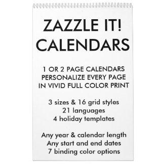 Modèle de blanc de calendrier personnalisé par