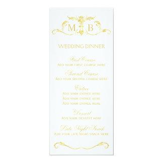 Modèle de menu de dîner de mariage d'or carton d'invitation  10,16 cm x 23,49 cm