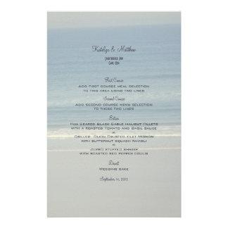 Modèle de menu de mariage d'amour d'océan