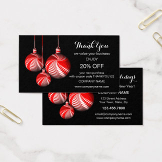 Modèle élégant de carte de visite de Merci de Noël