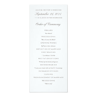 Modèle gris et blanc de programme de mariage carton d'invitation  10,16 cm x 23,49 cm