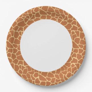 Modèle mignon de girafe de Kawaii Assiettes En Papier