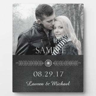 Modèle photo noir et blanc de mariage de tableau plaque photo