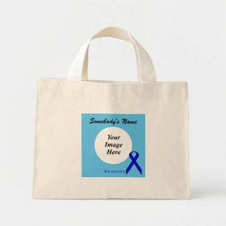Modèle standard bleu de ruban mini tote bag