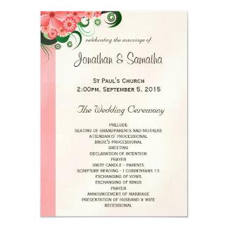 Modèles roses floraux de programme de mariage de carton d'invitation  12,7 cm x 17,78 cm