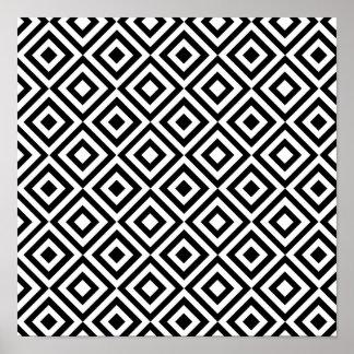 Modern abstract zwart wit geometrisch patroon poster