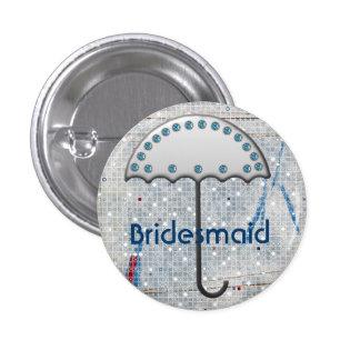 modern blauw zilveren de winterbruidsmeisje ronde button 3,2 cm