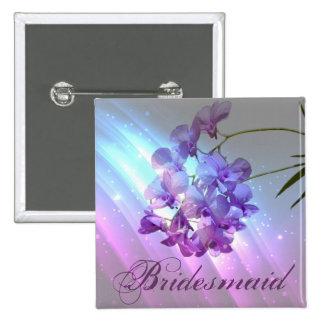 modern bloemen lila paars orchideebruidsmeisje vierkante button 5,1 cm