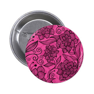 Modern Trendy BloemenPatroon Ronde Button 5,7 Cm