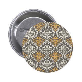 modern vintage grijs en geel damast speldje