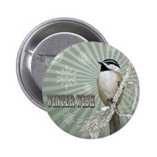 moderne de vintage winter boschickadee buttons