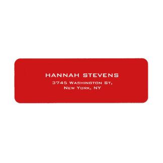 Moderne élégant professionnel rouge simple simple étiquette d'adresse retour