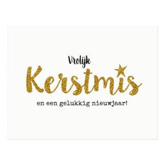 Moderne kerstkaart met goudkleurige glittertekst briefkaart