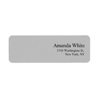 Moderne minimaliste élégant de plaine de gris étiquette d'adresse retour