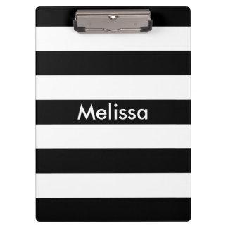 Moderne rayé audacieux noir et blanc personnalisé porte-bloc