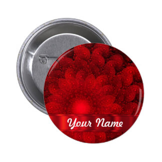 Moderne rode fractal samenvatting ronde button 5,7 cm