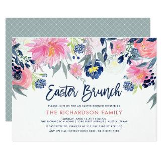 Moderne rougissent et le brunch floral de Pâques Carton D'invitation 12,7 Cm X 17,78 Cm