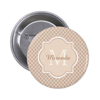 Moderne Tan van het Monogram en Witte Quatrefoil Ronde Button 5,7 Cm