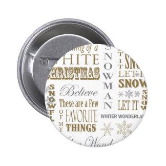 moderne vintage Kerstmiswoorden Speldbuttons