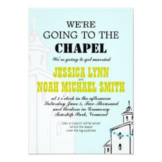 Moderne vintage nous allons au mariage de chapelle carton d'invitation  12,7 cm x 17,78 cm