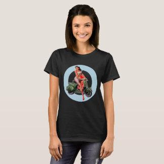 Mods noirs de ska de T-shirt de fille de scooter