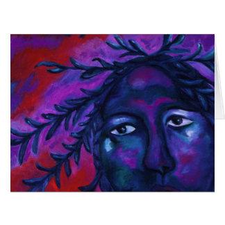 Moeder die op Al Abstract Rood Violet Medeleven Extra Grote Wenskaart