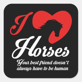Moi aime/chevaux de coeur sticker carré