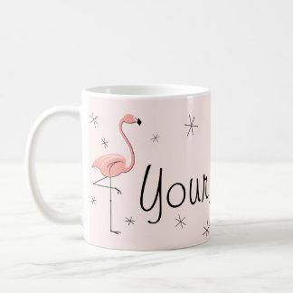 """Mok van de """"Naam"""" van de flamingo de Roze"""