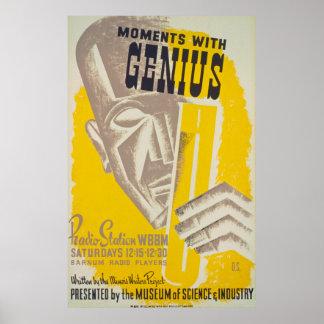 Moments avec le poster vintage de génie