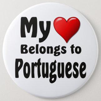 Mon coeur appartient au Portugais Badge Rond 15,2 Cm