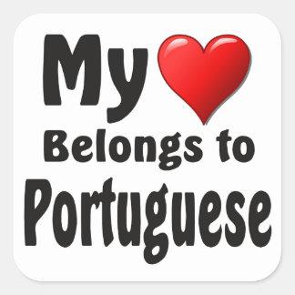 Mon coeur appartient au Portugais Sticker Carré