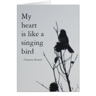 Mon coeur est comme une carte d'oiseau de chant