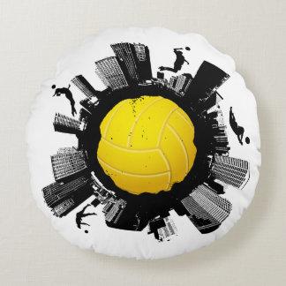 Monde frais de volleyball (boule jaune de couleur) coussins ronds