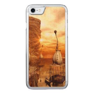 Monde imaginaire impressionnant dans le coucher du coque en bois iPhone 7