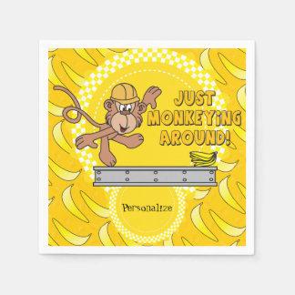 Monkeying juste autour le thème de baby shower serviette en papier