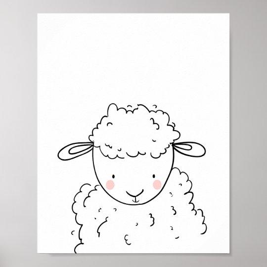 Monochrome d'art de mur d'agneau de crèche poster