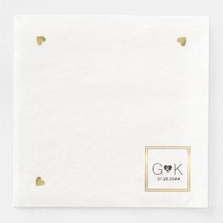 monogram. huwelijk papieren servetten