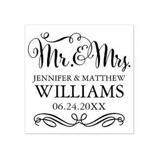 Monogram | van het huwelijk M. & Mevr. Rubberstempel