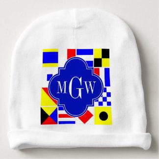 Monogramme 3I royal coloré de drapeaux de signal Bonnet Pour Bébé