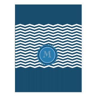 Monogramme à la mode de bleu de chevron carte postale