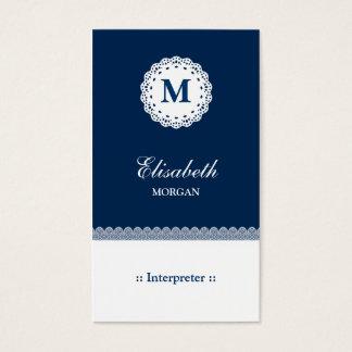 Monogramme blanc bleu de dentelle d'interprète cartes de visite